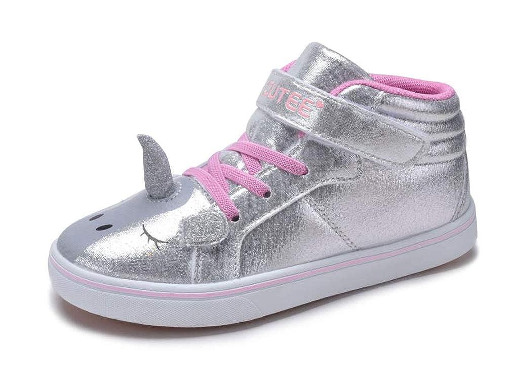Amazon Com Girls Silver Unicorn Sneakers High Top Tennis Shoes 3d