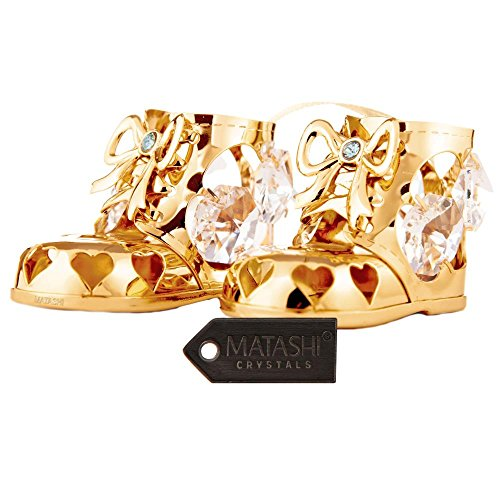 24K Gold Plated Crystal Studded Gold Baby Boy Booties Ornament by - Baby Bootie Ornament
