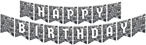 Cobblestone Jointed Banners, Medieval Party Supplies, Cobblestone Birthday Banner, Party Decorations, Hanging Room Decorations
