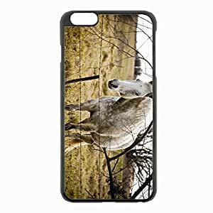 iPhone 6 Plus Black Hardshell Case 5.5inch - horse grass fence tree Desin Images Protector Back Cover