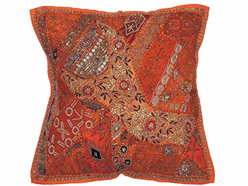 (NovaHaat Orange Pearl Beadwork Euro Sham - Handmade Large Indian Sari Patchwork Decorative Floor Seating Pillow Cover ~ 26 Inch x 26 Inch)