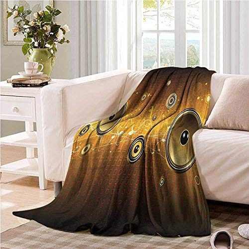 Oncegod Super Soft Blanket Music Party Theme with Speakers Portable Car Travel Cover Blanket 84