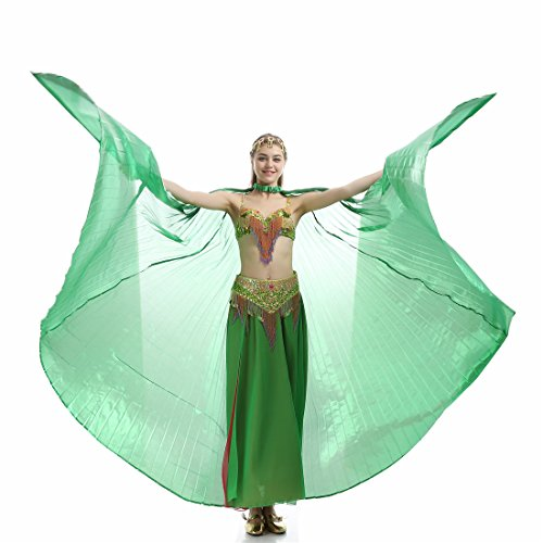 Turkish Belly Dancing Costumes - iMucci 140CM With Stick 360 Degree Egypt Indian Belly Dance Wing Fan Bellydance Isis Wings (Adult green)