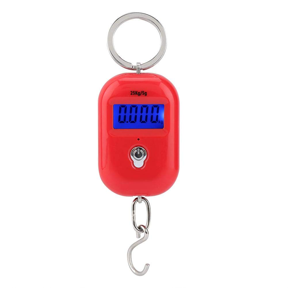 Mini Electronic Scale, Red Portable 25kg/5g Scale Digital Pocket Key Chain Weight Hook Kitchen Food Weight Gauge Measuring Tools