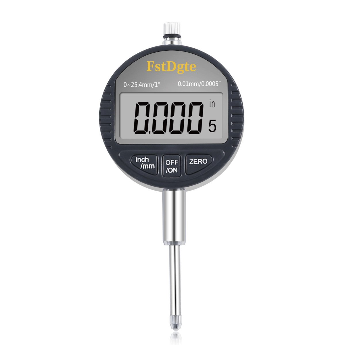 Digital Dial Test Indicator Gage Gauge,Range 0-1 Inch/25.4 mm,Resolution 0.0005 Inch/0.01mm,Inch/Metric Conversion,Electronic Measuring Tool with Back Lug Auto Off Featured, by FstDgt