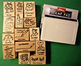 French/English Teacher's Rubber Stamp Set of 14, with Stamp Pad