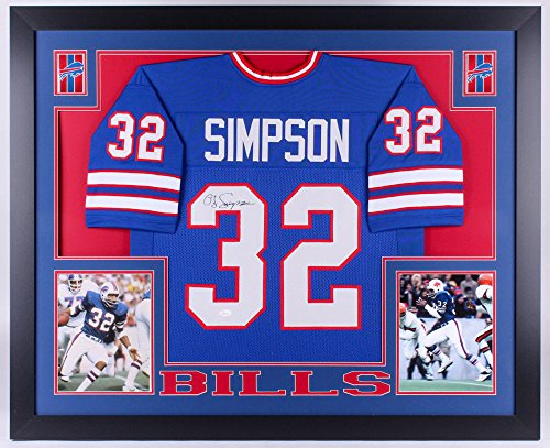 O. J. Simpson Signed Bills 35x43 Custom Framed Jersey (JSA)#1 Overall Pick Draft