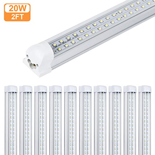 4 Pack T8 LED Tube Light, 2FT 20W 2400lm 6500K Cool White,Double Row Integrated Single Fixture,Clear Cover, for Cabinet Light, Ceiling Light, Corded Electric with Built-in ON/Off Switch