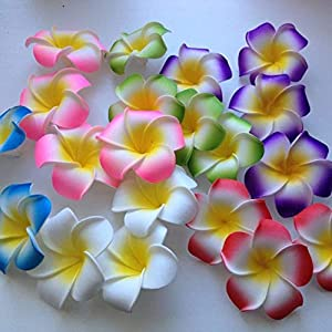 BeesClover 10Pcs 5 Sizes Avail Plumeria Hawaiian Pe Foam Frangipani Artificial Flower for Wedding Party Decoration Fake Egg Flower Bouquets 22