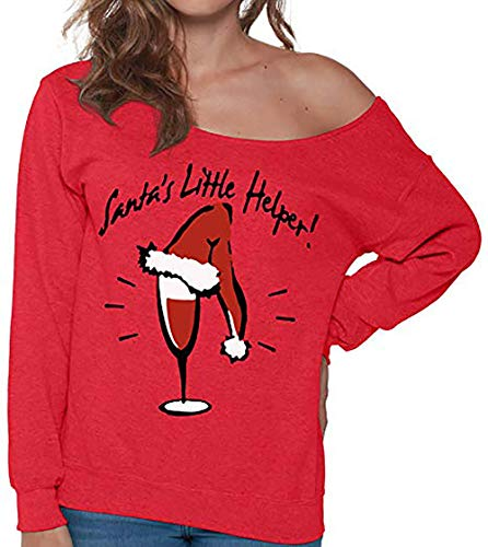 ZYAP Long Sleeve Blouse Tops Womens Fashion Shirt with Christmas Letter Print(Red,M)