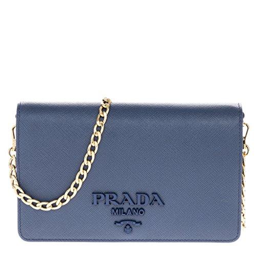 Prada Women's Saffiano Leather Wallet Bag Blue - Prada Blue Handbag