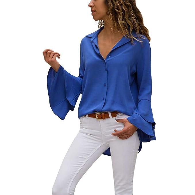 Blusa De Mujer Las Tops Casual Sólido Moda Camisas Señoras 2018 A1tqOO