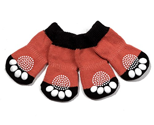 Pet Heroic Anti-Slip Knit Dog Socks&Cat Socks with Rubber Reinforcement, Anti-Slip Knit Dog Paw Protector&Cat Paw Protector for Indoor Wear, Suitable for Small&Medium&Large ()