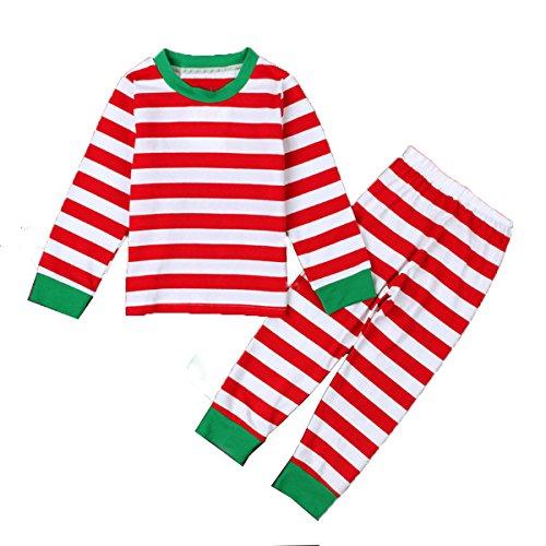 Baby Boys Girls Striped Christmas Nightwear Pajamas Sleepwear T-shirt and Pants -