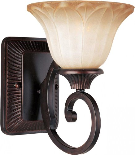 Maxim Lighting 13511WSOI One Light Wilshire Glass Wall Light, Oil Rubbed Bronze