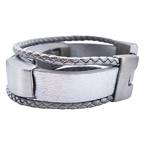 14eaf0b53dd1 Amazon.com  Fitbit Alta - Alta HR - Bracelet Aurel - Silver - stainless  steel - real leather - Jewelry for Fitbit Alta - Fitbit Alta Band - Fitbit  Alta ...