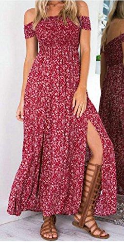 Floral Print Sexy High Long Cromoncent Off Wine Dress Womens Red Slit Shoulder BpHYq