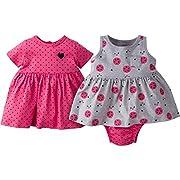 Gerber Baby Girls' 3 Piece Dress Set, Pink Navy Hearts/Grey Ladybug, 24 Months