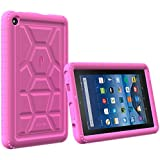 Poetic TurtleSkin Fire 7 2015 Rugged Case Cover With Heavy Duty Protection Silicone and Sound-Amplification feature for Amazon Fire 7 5th Gen (Previous Generation - 5th) 2015 release Pink