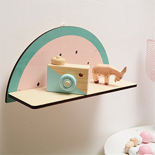 cheerfullus Watermelon Shape Wooden Storage Shelf Decorative Display Wall Hanging Children's Room Living Room Bedroom Wall Decoration by cheerfullus (Image #3)