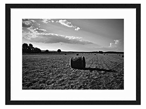 Tcrying Hay Bails - Art Print Wall Black Wood Grain Wall Art Picture 20x14 Inches (Bail Hay)