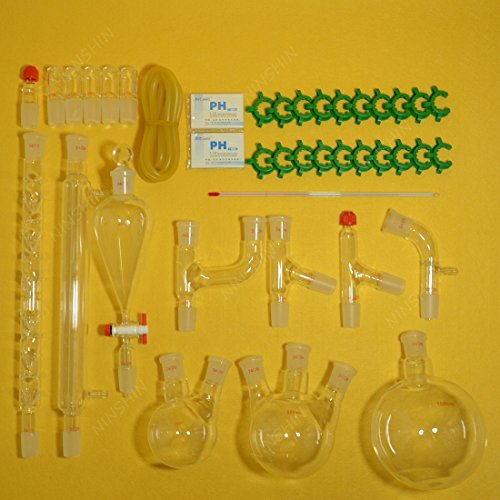 NANSHIN Glassware,lab glassware kit,organic chemistry lab glassware kit 24/29 28pcs