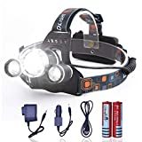 LED Headlamp, 6000 Lumens 4 Modes with 3 Light Bulbs Waterproof Head Flashlight Use for Hiking Camping Fishing Running Cycling (2 Piece Rechargeable 18650 Battery Included) -  HANZE