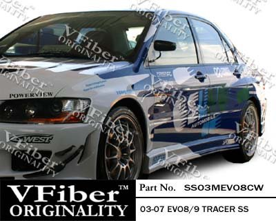 Evo Side 4 Skirts (2003-2007 Mitsubishi EVO 8/9 4dr Body Kit Tracer Side Skirt)