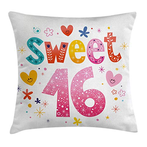 Ambesonne 16th Birthday Decorations Throw Pillow Cushion Cover, Cute Sweet Sixteen Hearts Stars Flowers Unique Girls Joy Design, Decorative Square Accent Pillow Case, 18 X 18 Inches, Multicolor
