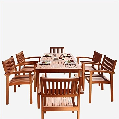 Malibu Patio Set - Malibu V98SET10 Eco-Friendly 7 Piece Wood Outdoor Dining Set with Stacking Dining Chairs