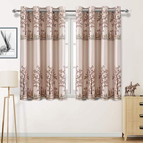 DWCN Faux Silk Thermal Insulated Blackout Curtains 45 inch Long - Jacquard Light Blocking Grommet Bedroom Window Curtains, Set of 2 Panels, Powder White ()