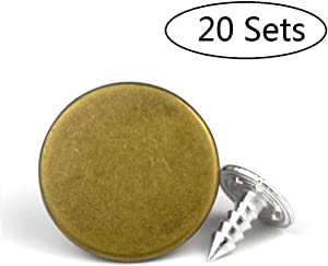 20 Sets Replacement Jeans Buttons, LaZimnInc Metal Button Snap Buttons Replacement Kit with Rivets (0.67inch)