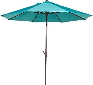 Abba Patio Outdoor Patio Umbrella 9 Feet Patio Market Table Umbrella with Push Button Tilt and Crank, Turquoise