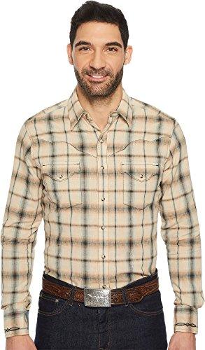 Retro Khaki Shirts (Wrangler Men's Retro Khaki/Blue Plaid Premium Long Sleeve Snap Shirt Beige/Khaki Large)