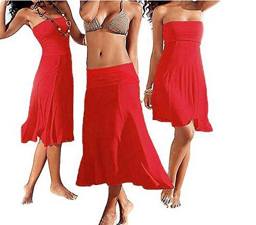 Arrowhunt Damen Mädchen Lang Einfarbig Dehnbare Kleider Strandkleider strandrock (Verschiedene Stile )