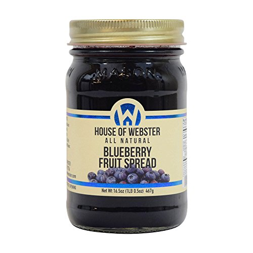 House of Webster Blueberry - No Sugar Added - 100% Fruit Spread 16.5 oz by House of Webster