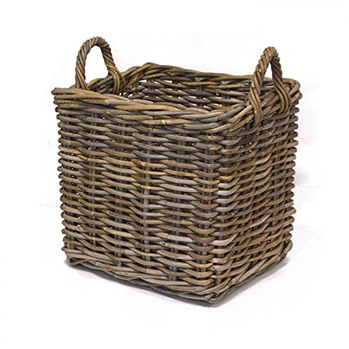 Medium Rectangular Wicker Weave Log Basket - Grey Tri-Pendawa