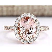 elegantshop Women Fashion 18K Rose Gold Filled Morganite White Topaz Ring Wedding Jewelry (9)