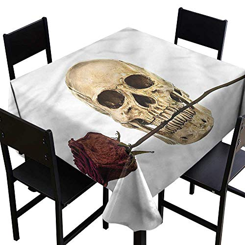 home1love Gothic Tablecloth for Kids/Childrens Skull Teeth Holding Dry Rose for Square and Round Tables 54 x 54 Inch