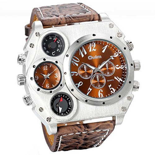 Fashion Men's Military Style 2 Time Zones Dark Brown Leather Strap Quartz Wrist Watch Sports Wirstwatch (Mens Quartz Strap Leather)