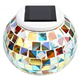 Solar Powered Mosaic Glass Ball Garden Lights Bedroom/Balcony,Solar Outdoor Lights for Parties Decorations (Rainbow)