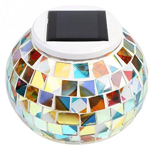 Solar Powered Mosaic Glass Ball Garden Lights Bedroom/Balcony,Solar Outdoor Lights for Parties Decorations (Rainbow)