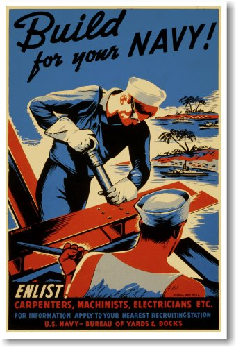 Build for Your Navy Vintage WWII Reprint Poster