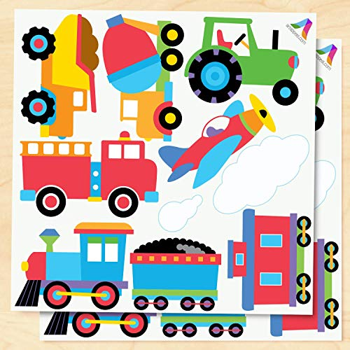Olive Kids Trains, Planes and Trucks Peel and Stick Wall Decal Cut Outs ()