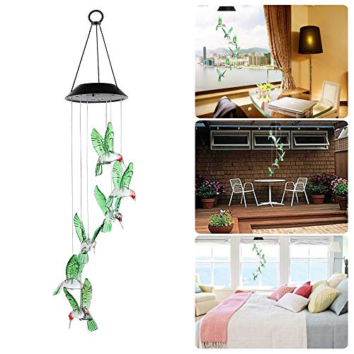 Goodtechnical Solar Hummingbird Wind Chimes Color Changing Led Mobile Hanging Waterproof Hummingbird Wind Chimes for Outdoor Indoor Home Party Night Yard Garden Decoration - Solar Mobile