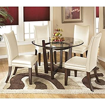 Ashley Charrell 5 Piece Glass Round Dining Set In Ivory Part 57