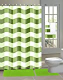 Hot Pink and Lime Green Shower Curtain 18 Piece Chenille Shaggy Bathroom Set Bath Rugs Shower Curtain Hooks & 3pc Towel Set (Lime)