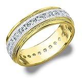 18K Two Tone Diamond Milgrain Edge Satin Finish Eternity Wedding Band (1.0 cttw, E-F Color, VVS1-VVS2 Clarity)