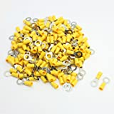 uxcell 200 Pcs RV5.5-8 Ring Type Pre Insulated Terminals Yellow for AWG 12-10