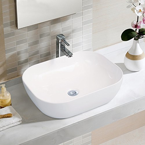 Bathroom Ceramic Vessel Sink Above Counter White Countertop Bowl Sink for Lavatory Vanity Cabinet Contemporary Style